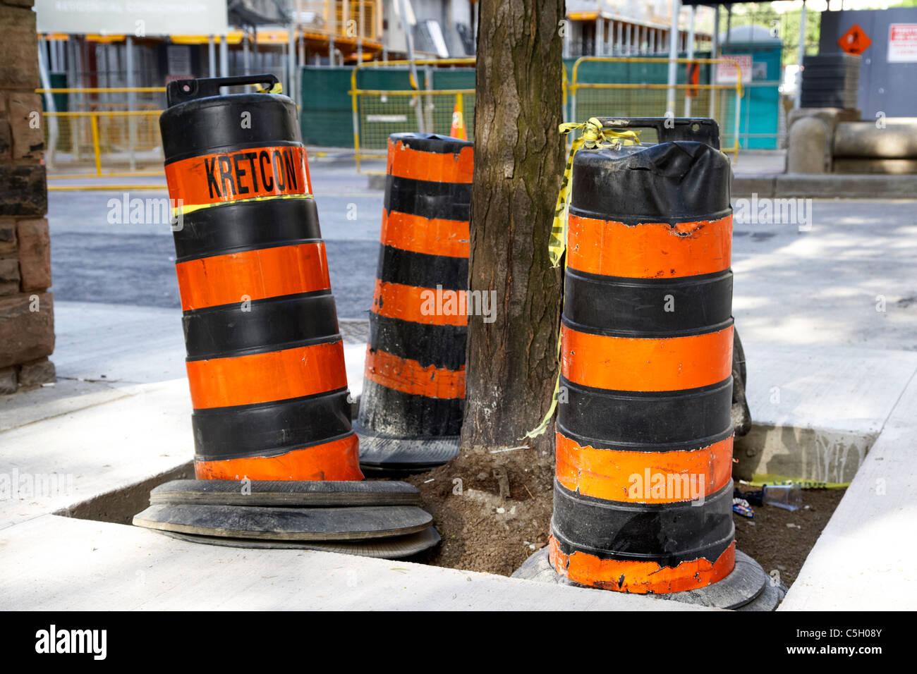 highway road construction barrels toronto ontario canada - Stock Image