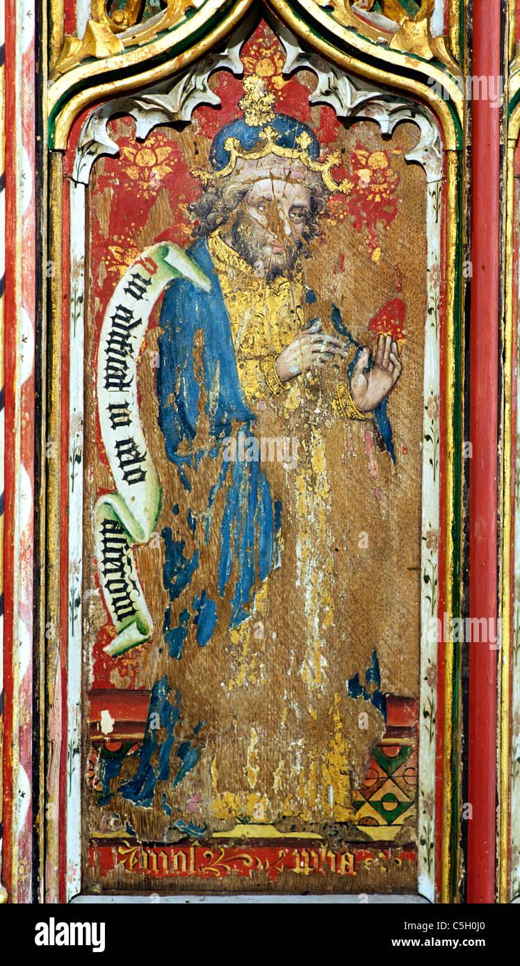 Thornham, Norfolk, rood screen, Prophet Amos Old Testament Prophets All Saints Church England UK English medieval - Stock Image
