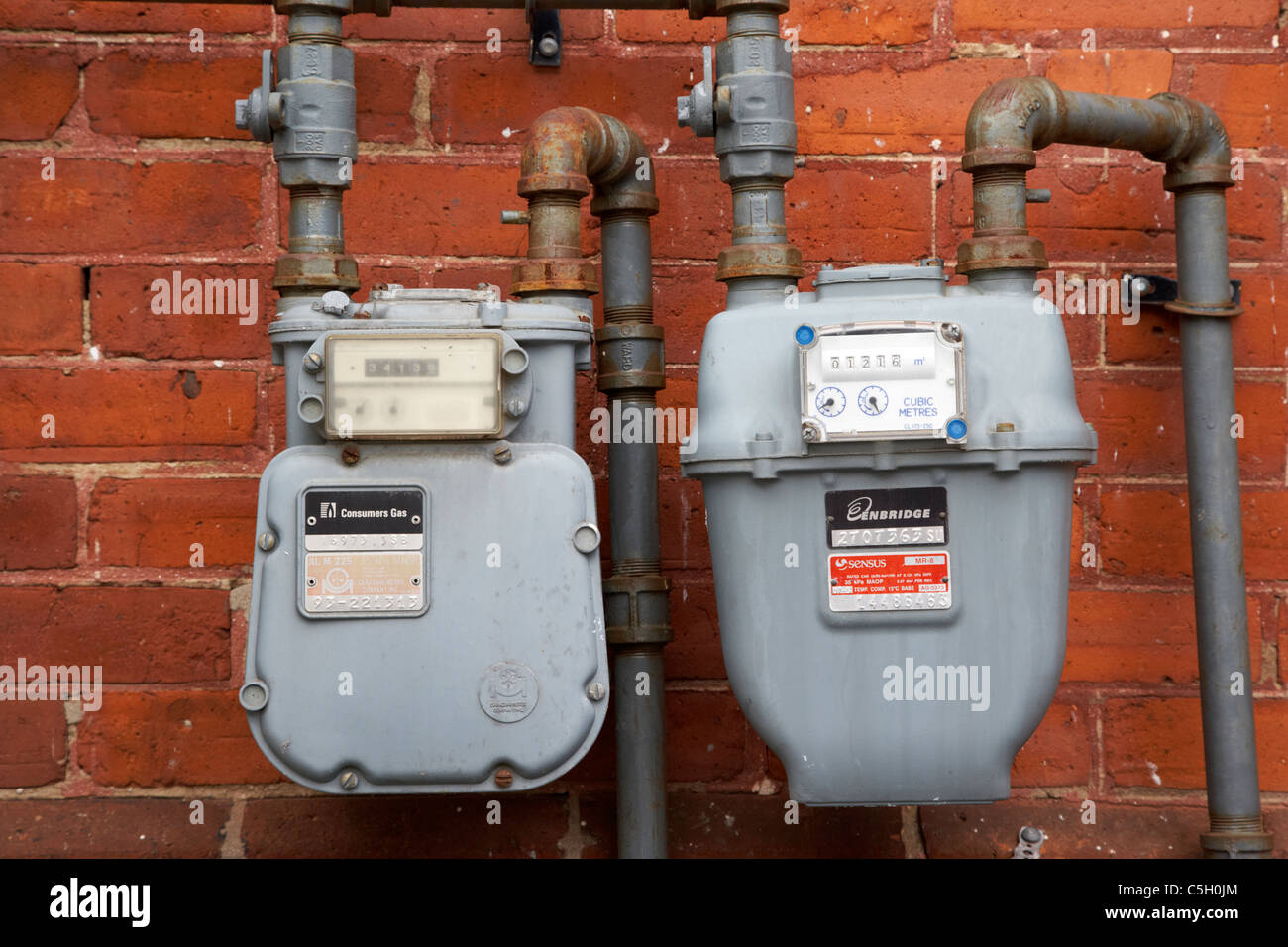 Old Gas Meter Stock Photos Images Alamy Engine Diagram Household Meters On The Outside Wall Of A Split House In Toronto Ontario Canada