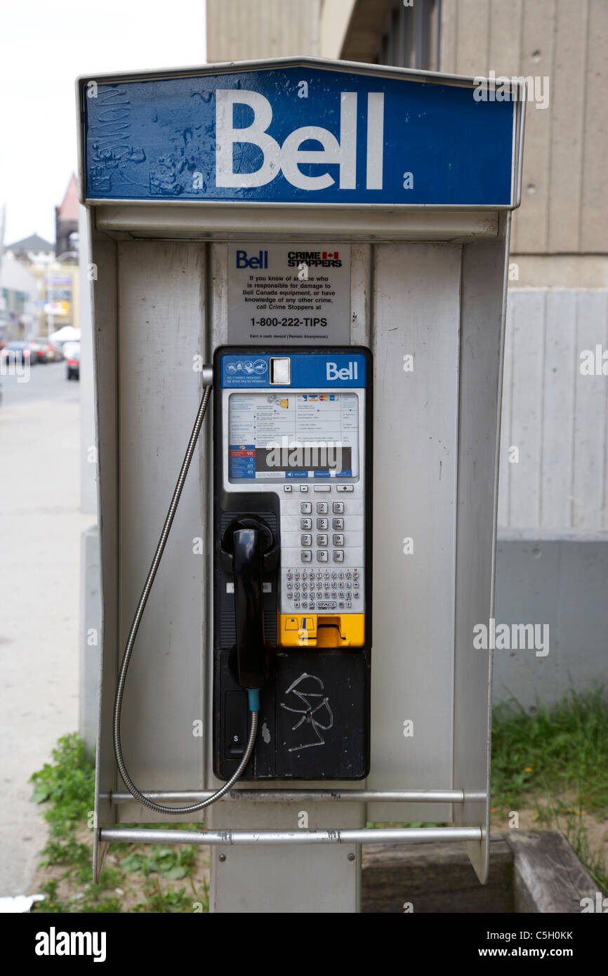 bell canada on street payphone toronto ontario canada - Stock Image