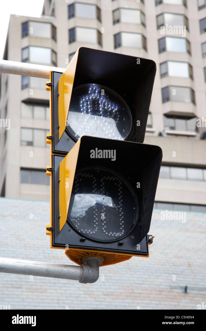 pedestrian road crossing go cross led lighting toronto ontario canada - Stock Image