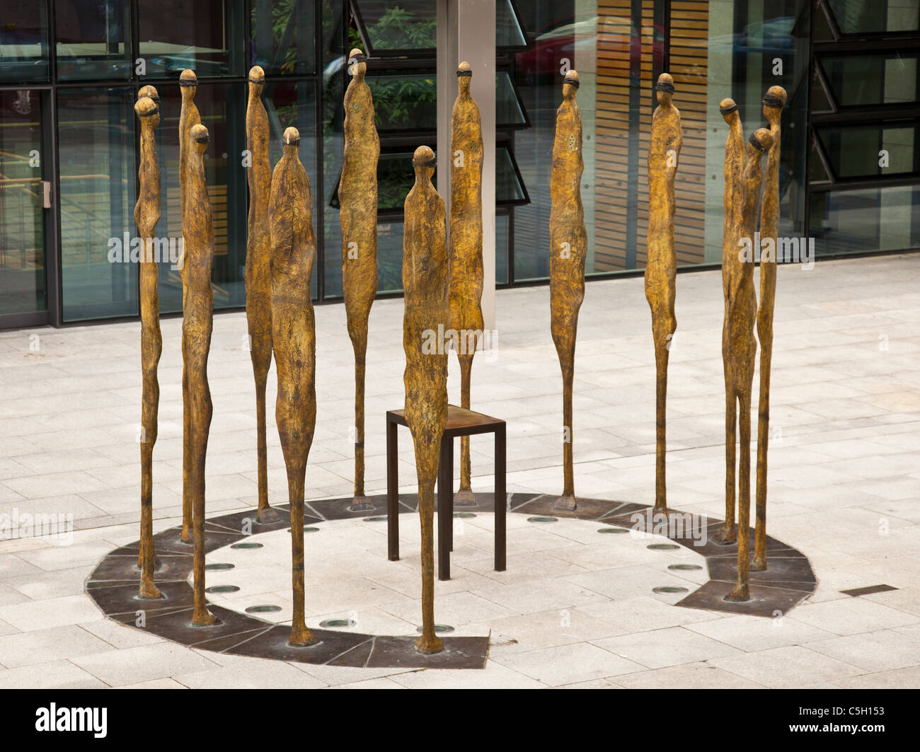 Proclamation, sculpture by Rowan Gillespie of the 14 executed leaders of the Easter Uprising Dublin, Republic of - Stock Image