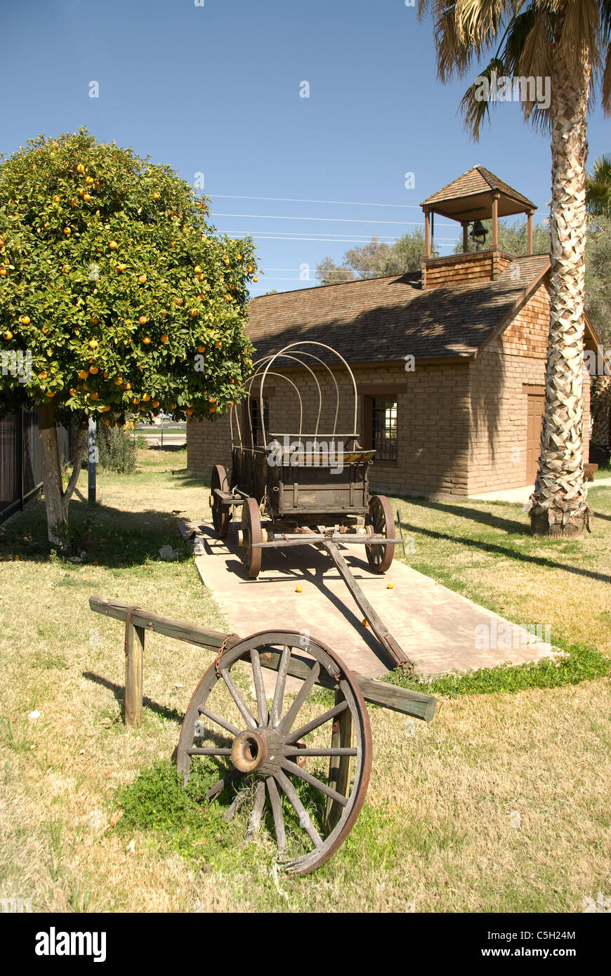 A setting of the old west shows how it might have looked 120 years ago. - Stock Image