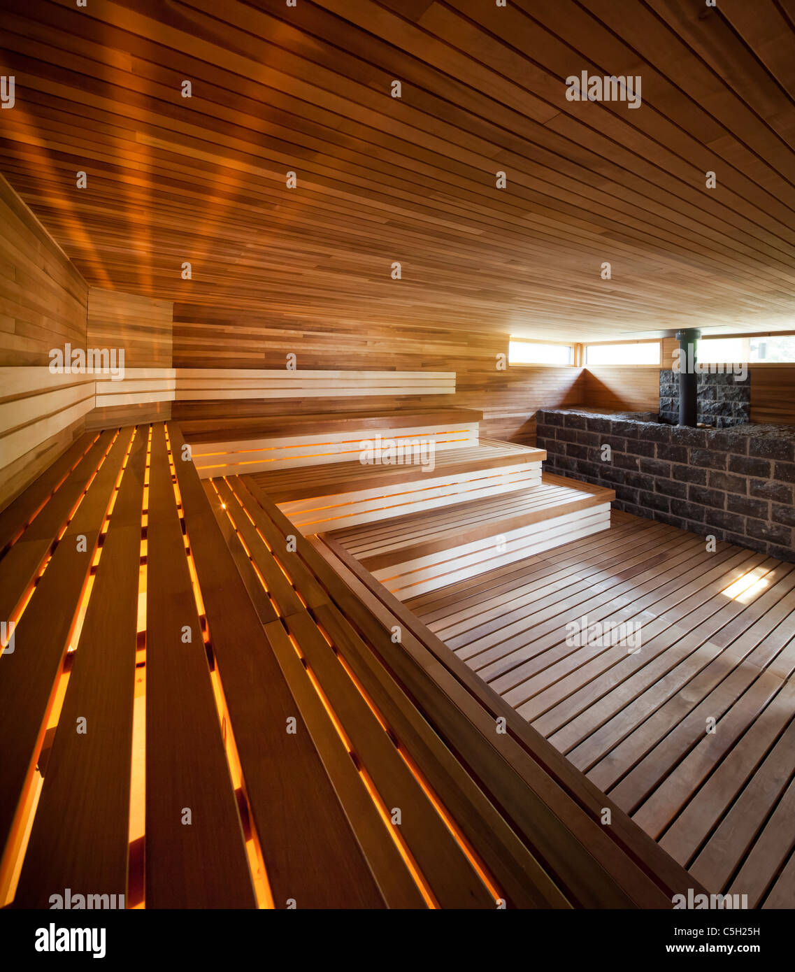 Modern dry sauna in a spa, Quebec, Canada - Stock Image