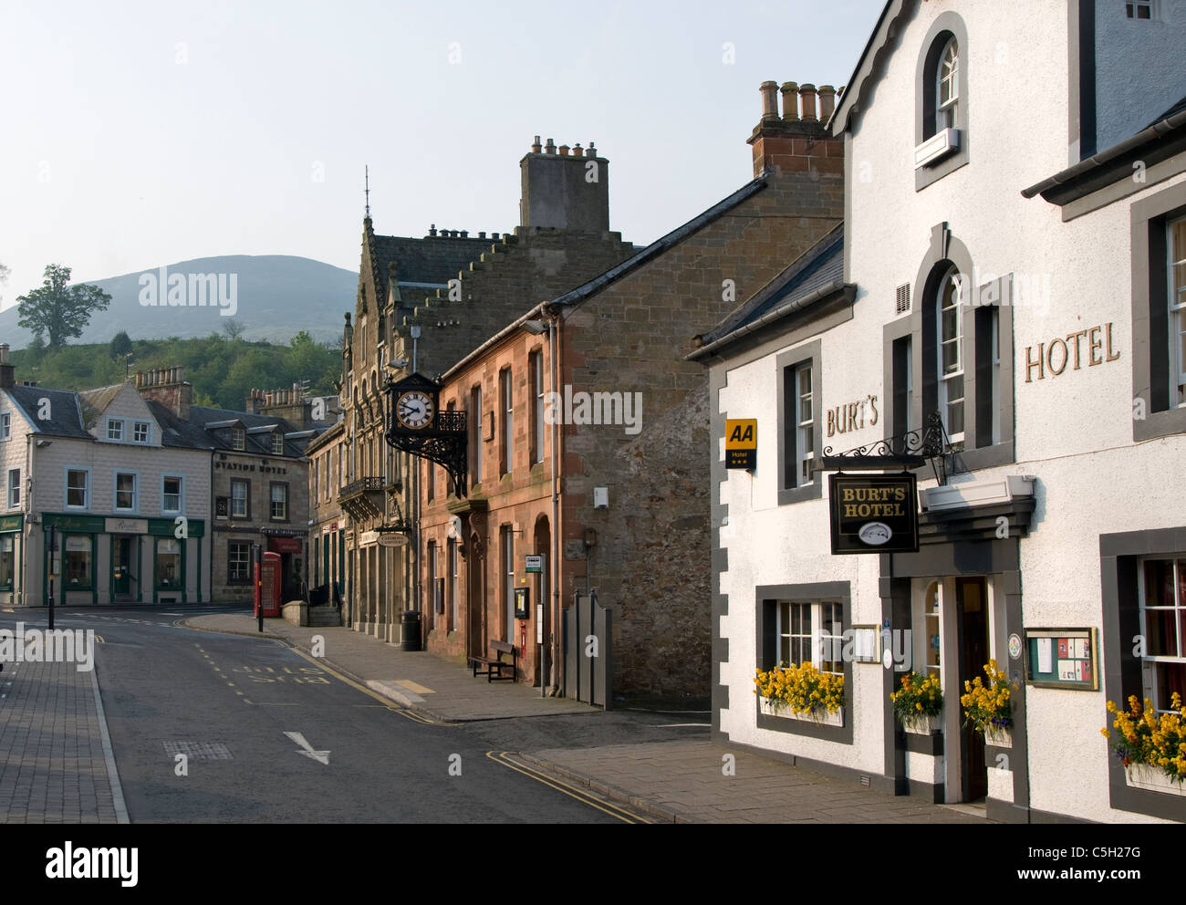 Melrose - The Square with Burts hotel - Stock Image
