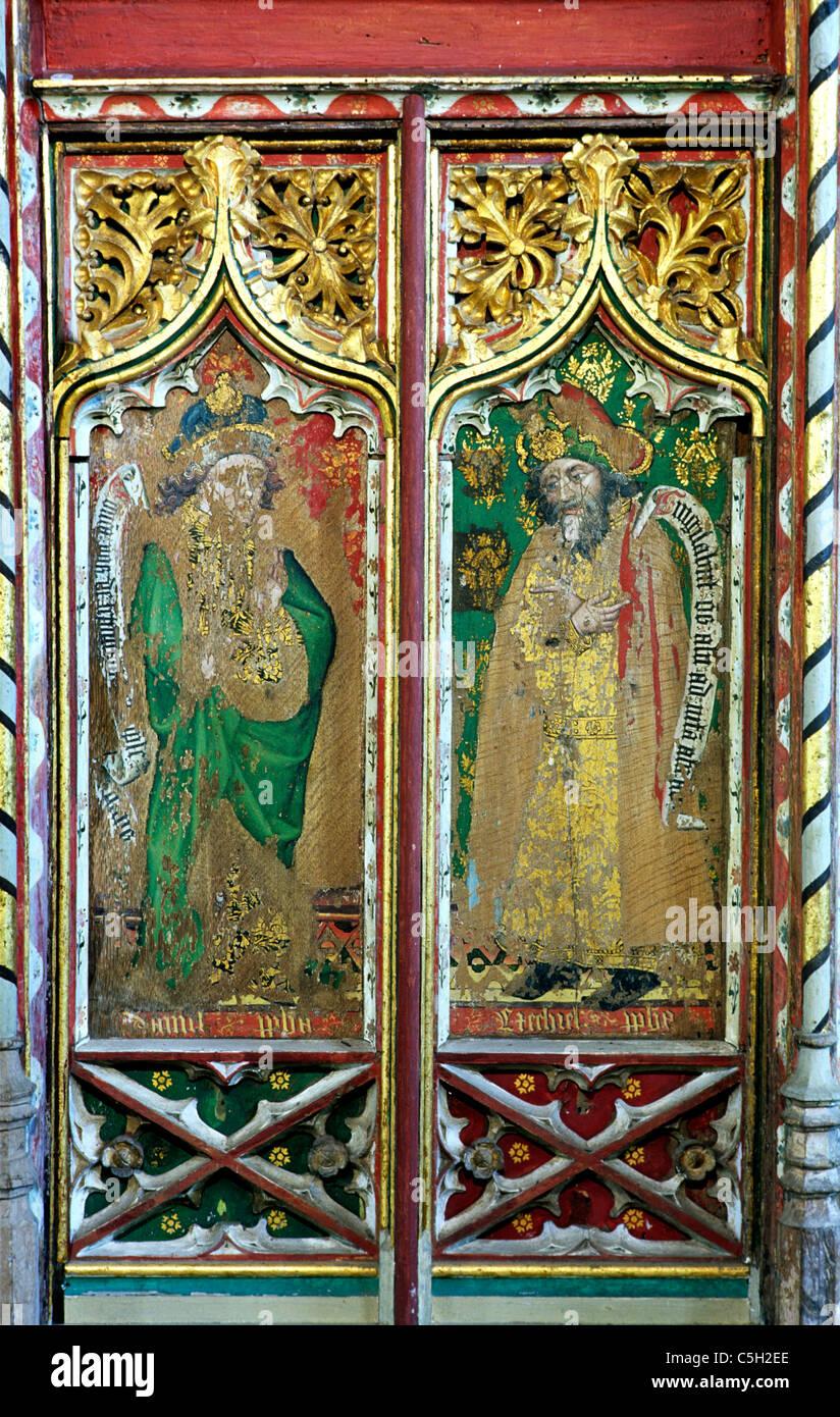 Thornham, Norfolk, Rood Screen, Prophets Daniel and Ezekiel Old Testament Prophet All Saints Church England UK English - Stock Image