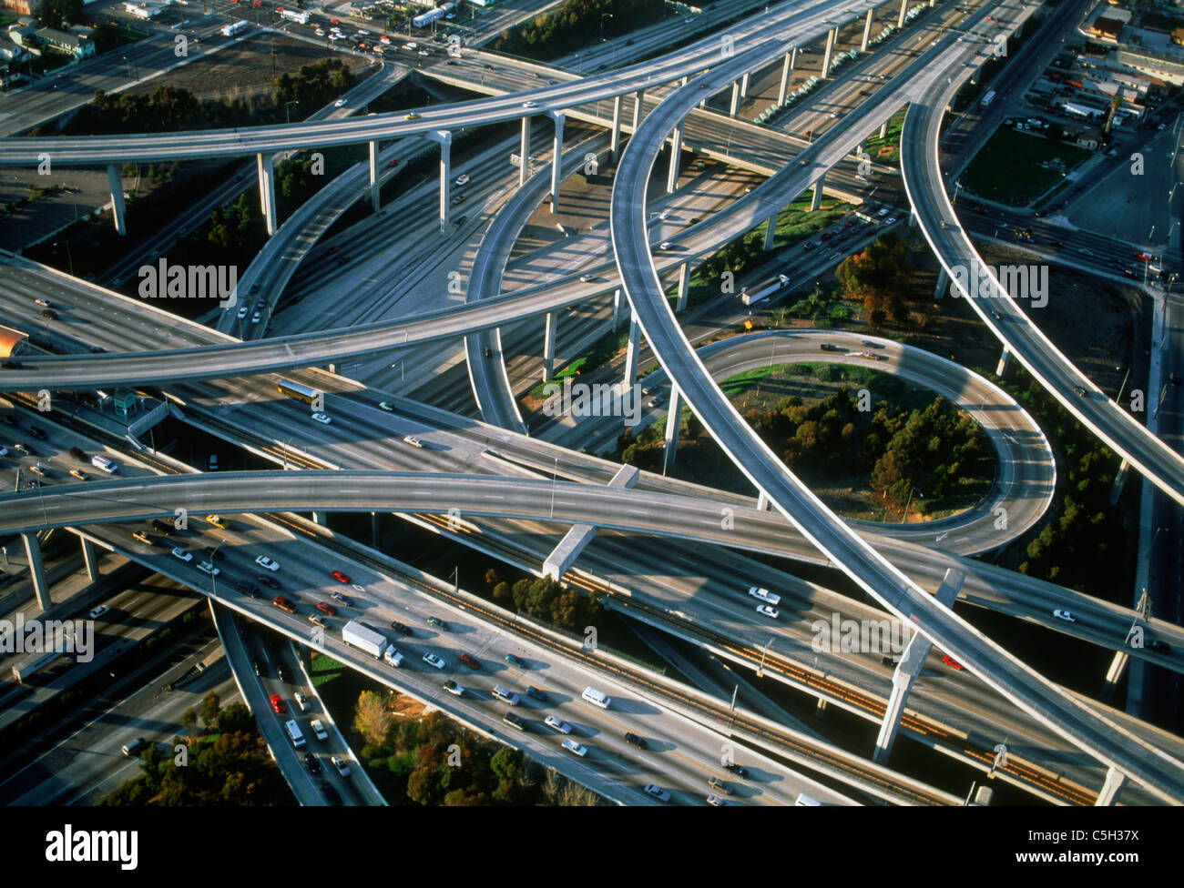 Aerial view of Los Angeles freeways - Stock Image