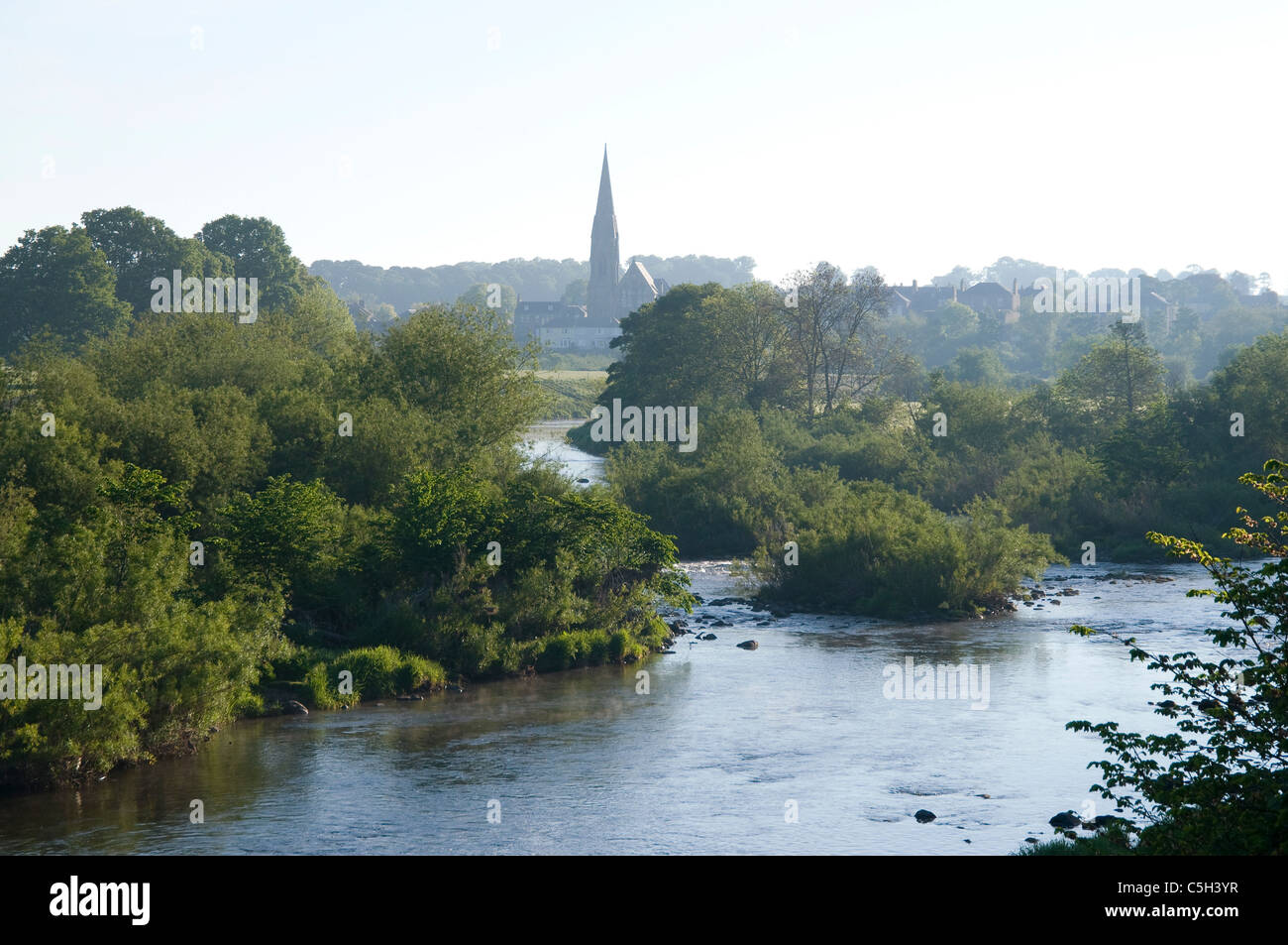 River Tweed and Kelso town in distance - Stock Image