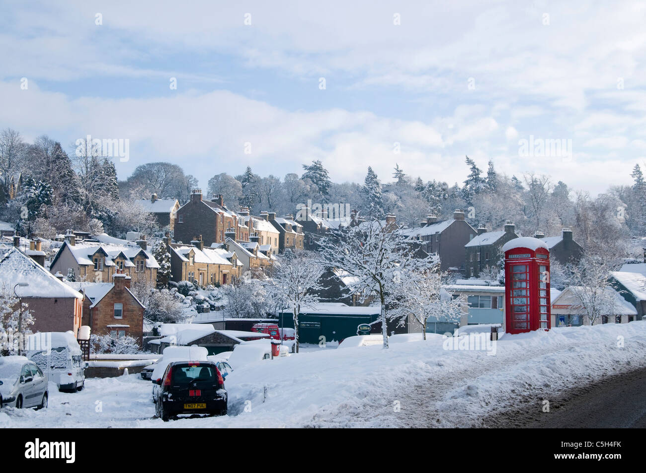 Selkirk in deep midwinter snowfall - Stock Image