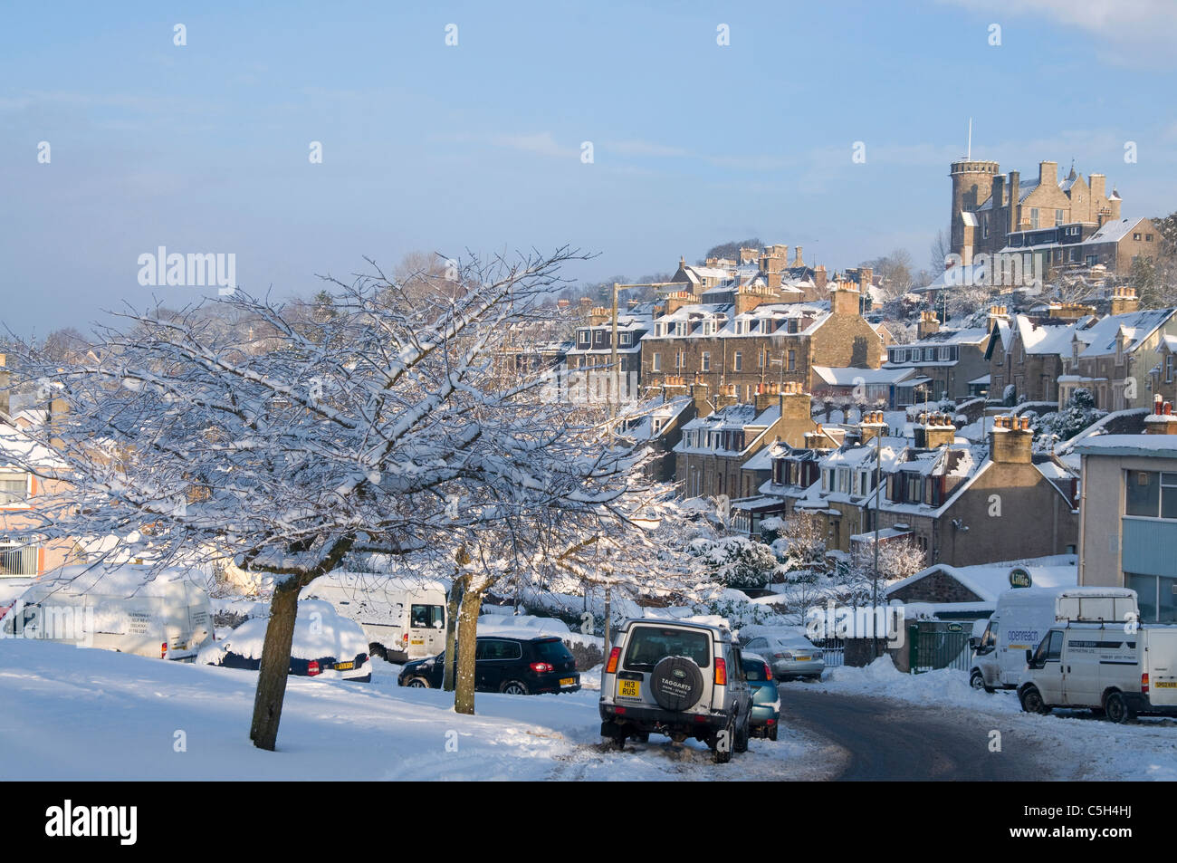 Selkirk Town in deep snow - Stock Image