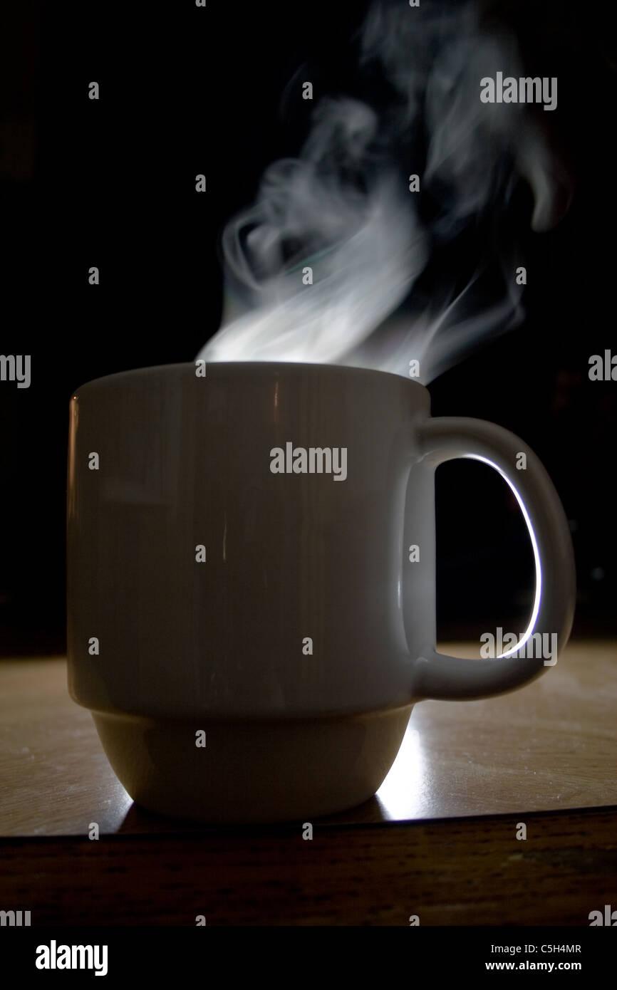 Steam Rising from Coffee Mug - Stock Image