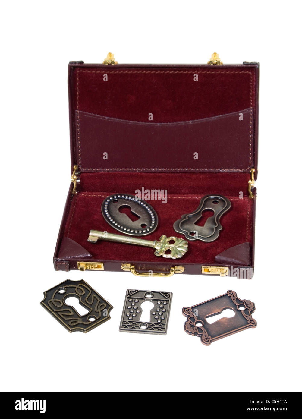 Business Security shown by antique locks and key in a briefcase - path included - Stock Image