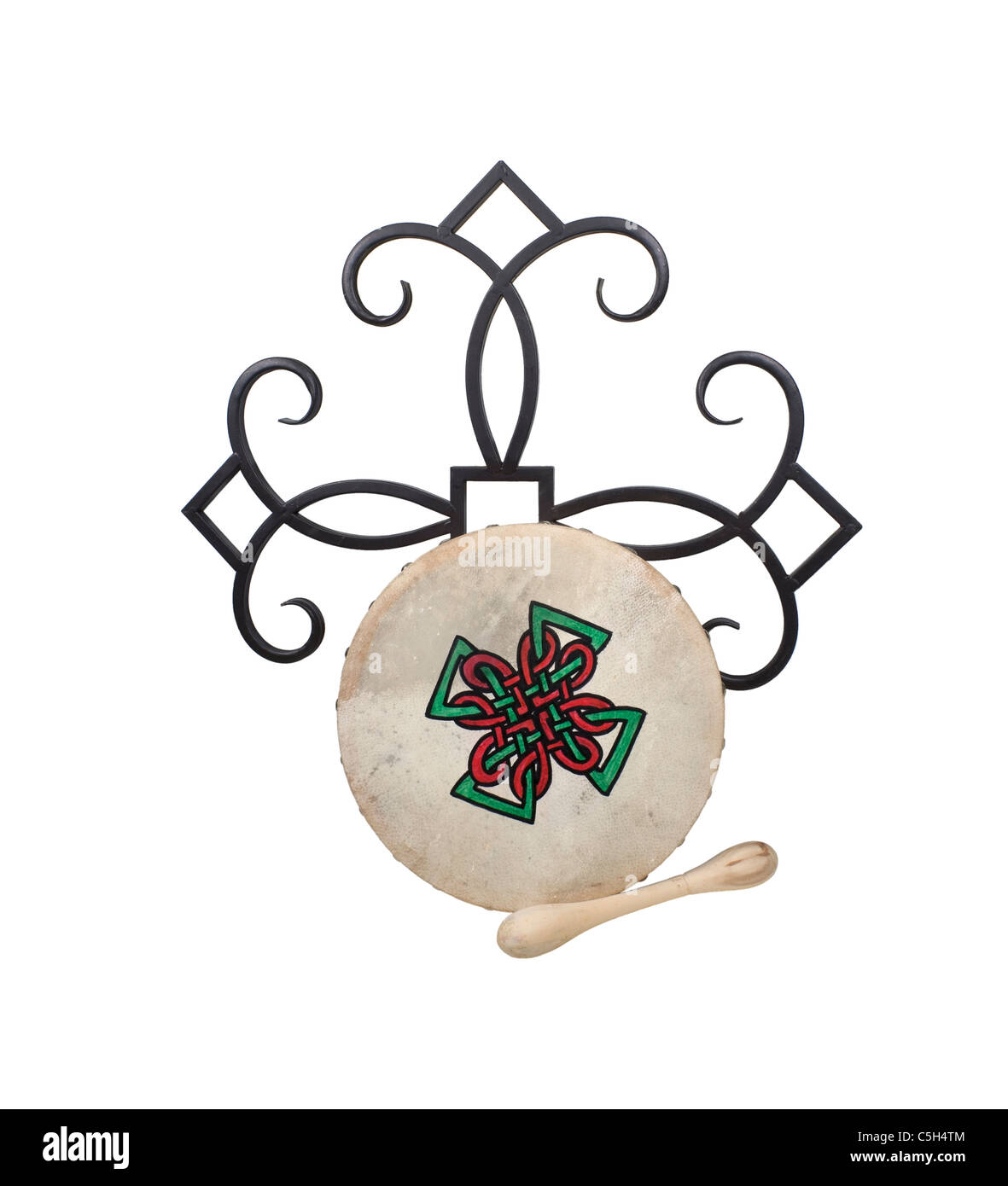 Celtic Bodhran Beater Drum with stretched skin over a frame - path included - Stock Image