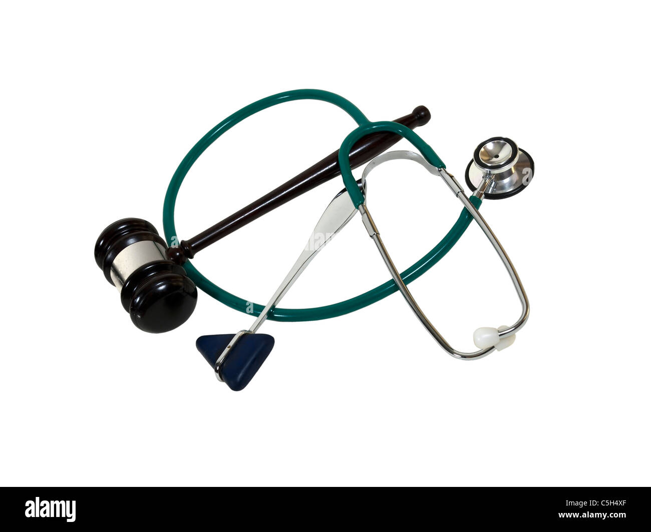 Legal and medical support shown by a stethoscope, taylor hammer, and a wooden gavel - path included - Stock Image