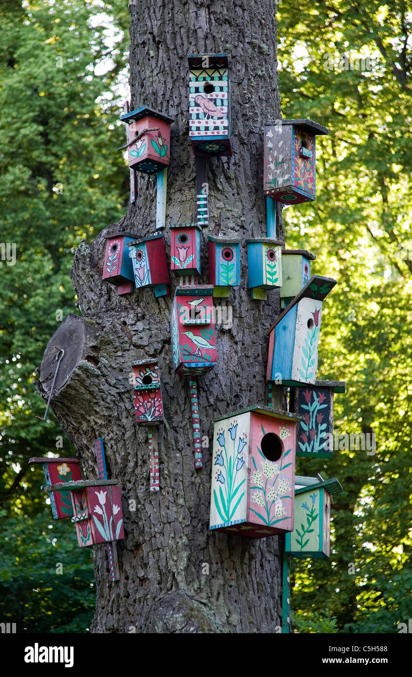 There is a tree with many nesting boxes for birds - Stock Image