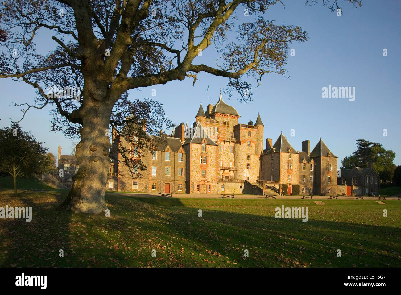 Thirlstane Castle with large beech tree to left - Stock Image