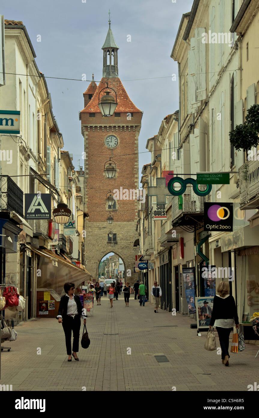 Clock tower and pedestrian precinct Villeneuve Gironde France - Stock Image
