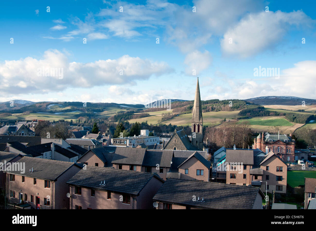 View of Selkirk with church spire with modern houses- Scottish Borders - Stock Image