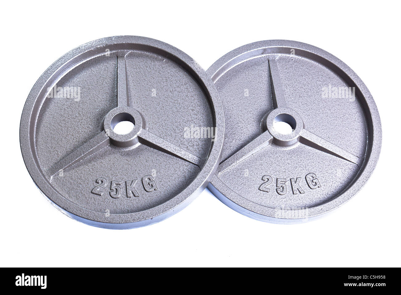 Weight lifting excercise equipment iron and rubber - Stock Image
