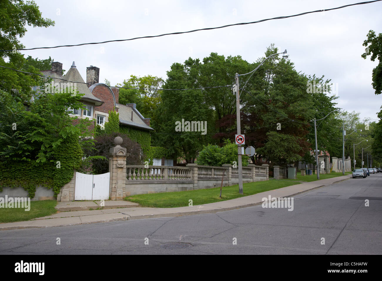 expensive exclusive residential street in south hill near casa loma district toronto ontario canada - Stock Image