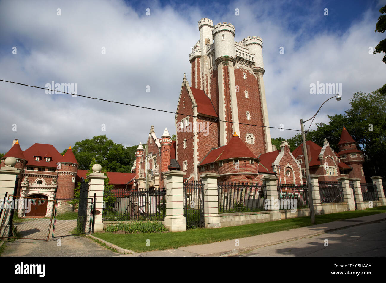 the casa loma stables and potting shed building fenced off in toronto ontario canada - Stock Image