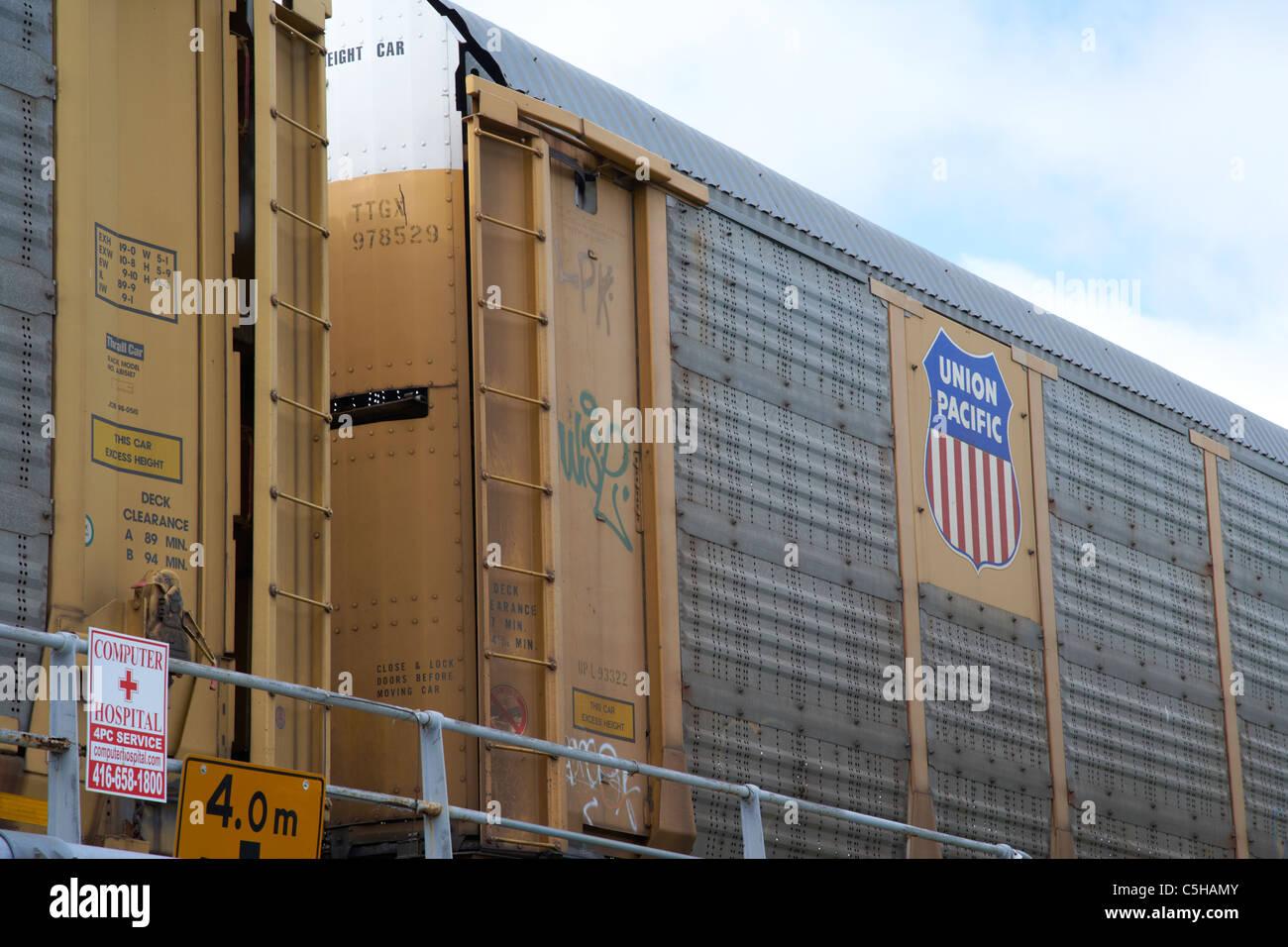union pacific railroad railway car toronto ontario canada - Stock Image