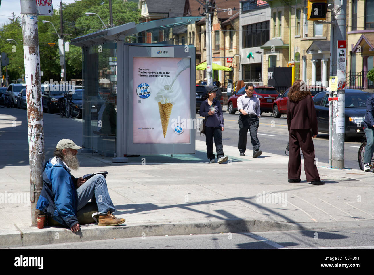 homeless man begging on the streets toronto ontario canada - Stock Image