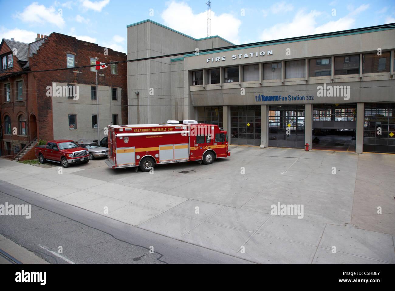 hazardous materials unit outside toronto fire station 332 toronto ontario canada - Stock Image