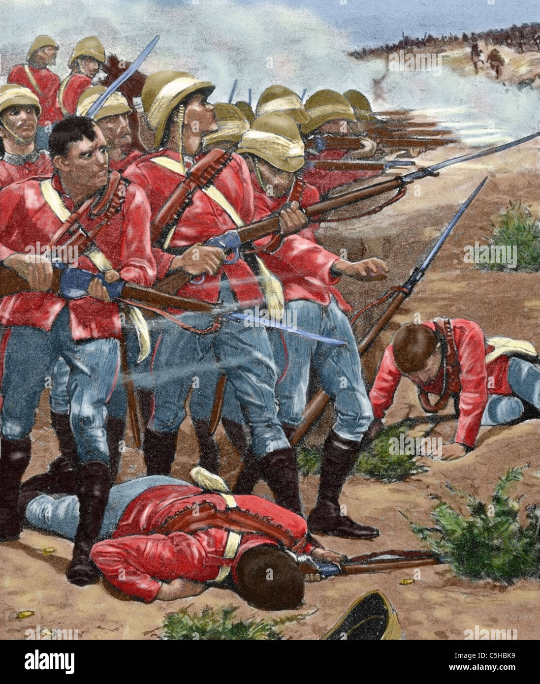 British imperialism. Sudan. Africa. English army attacking. Colored engraving, 1898. - Stock Image