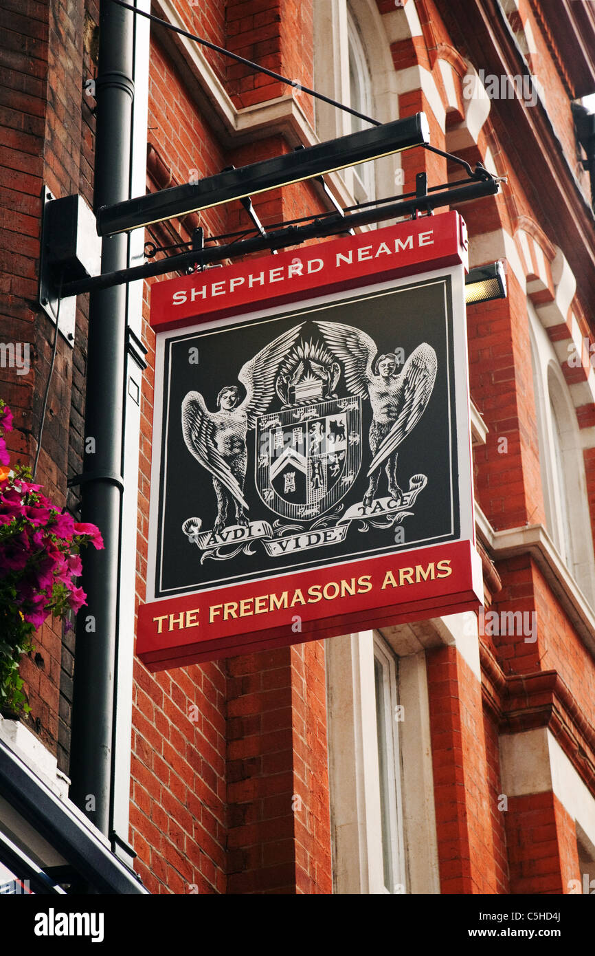 The sign for the Shepherd Neame pub, the Freemasons Arms, Covent Garden, London UK - Stock Image