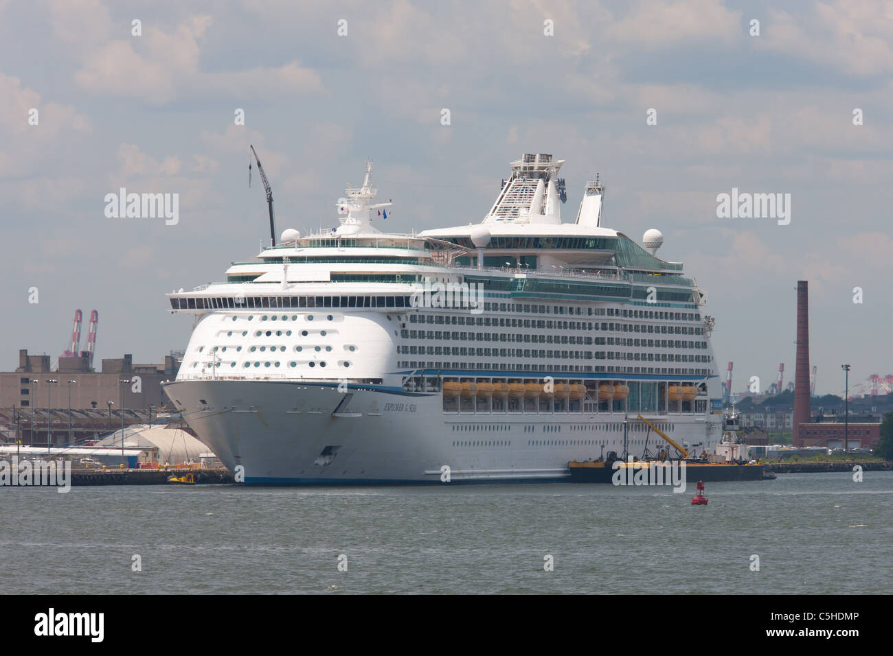 Royal Caribbean cruise ship Explorer of the Seas docked at the Cape Liberty Cruise Port in Bayonne, New Jersey. - Stock Image