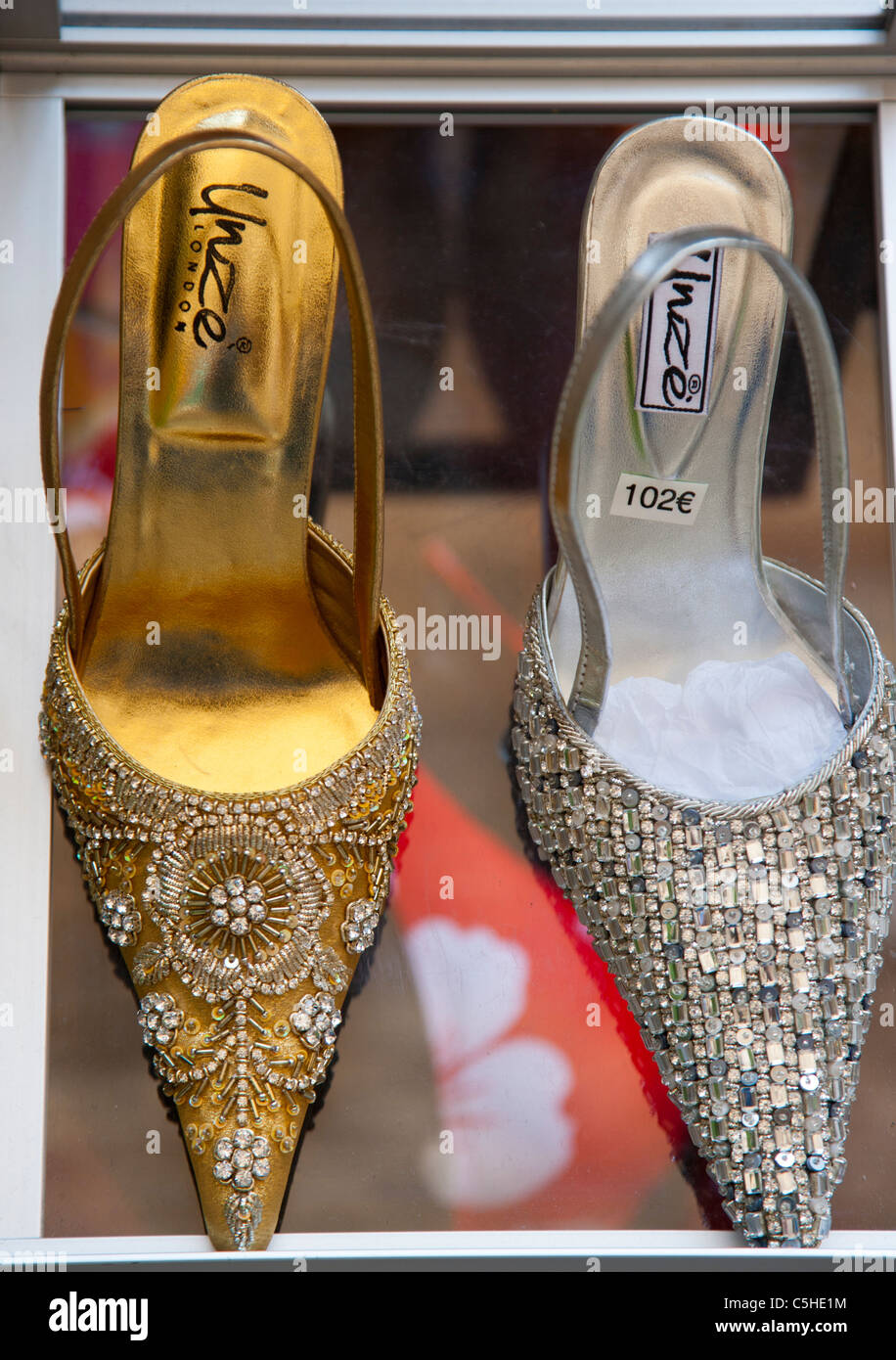 Expensive shoes in a shop window, St Paul de Vence, Provence, France - Stock Image