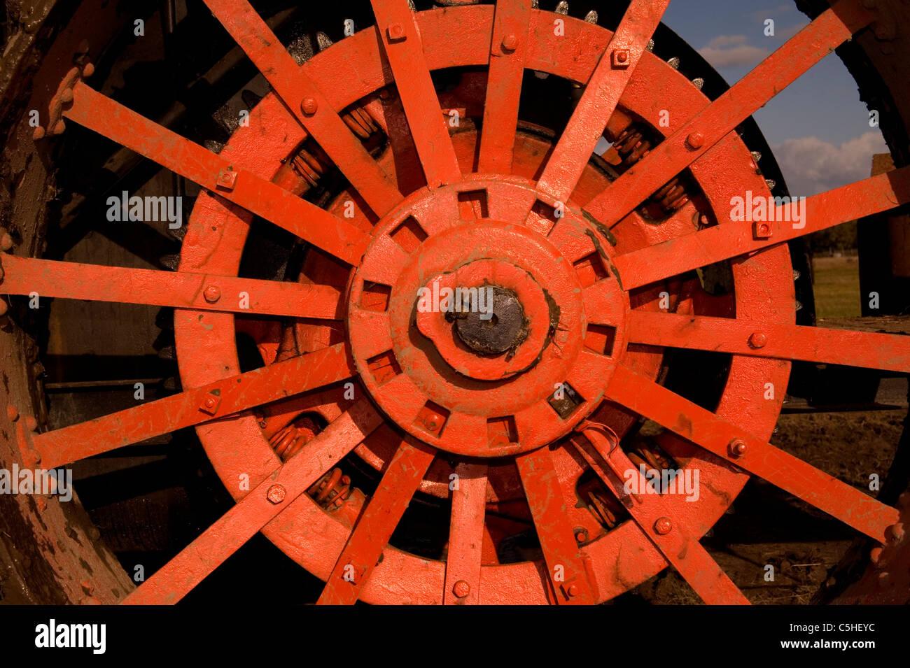 red steel wheel spokes - Stock Image