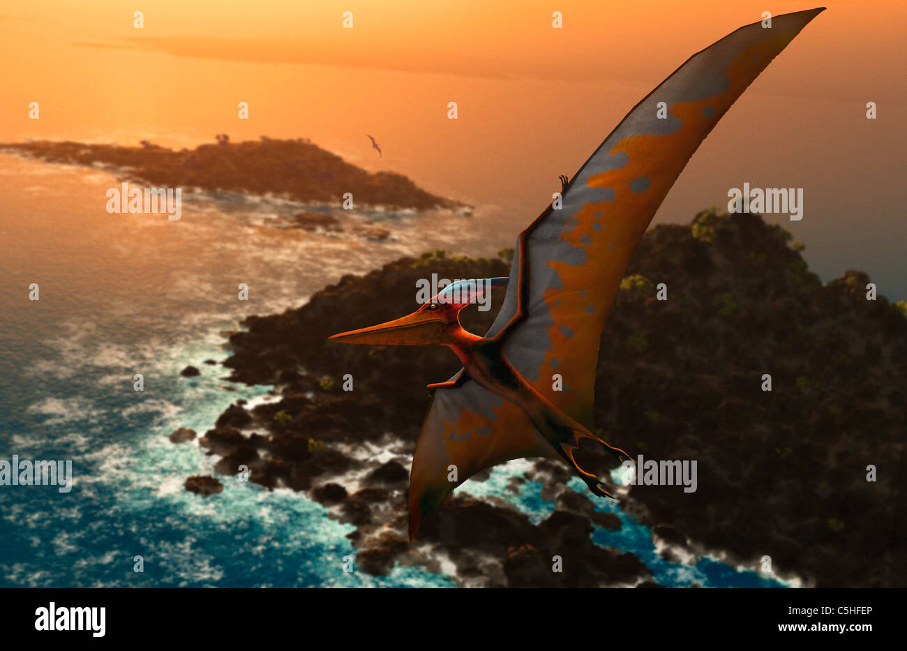 Artwork of pteranodon sternbergi - Stock Image
