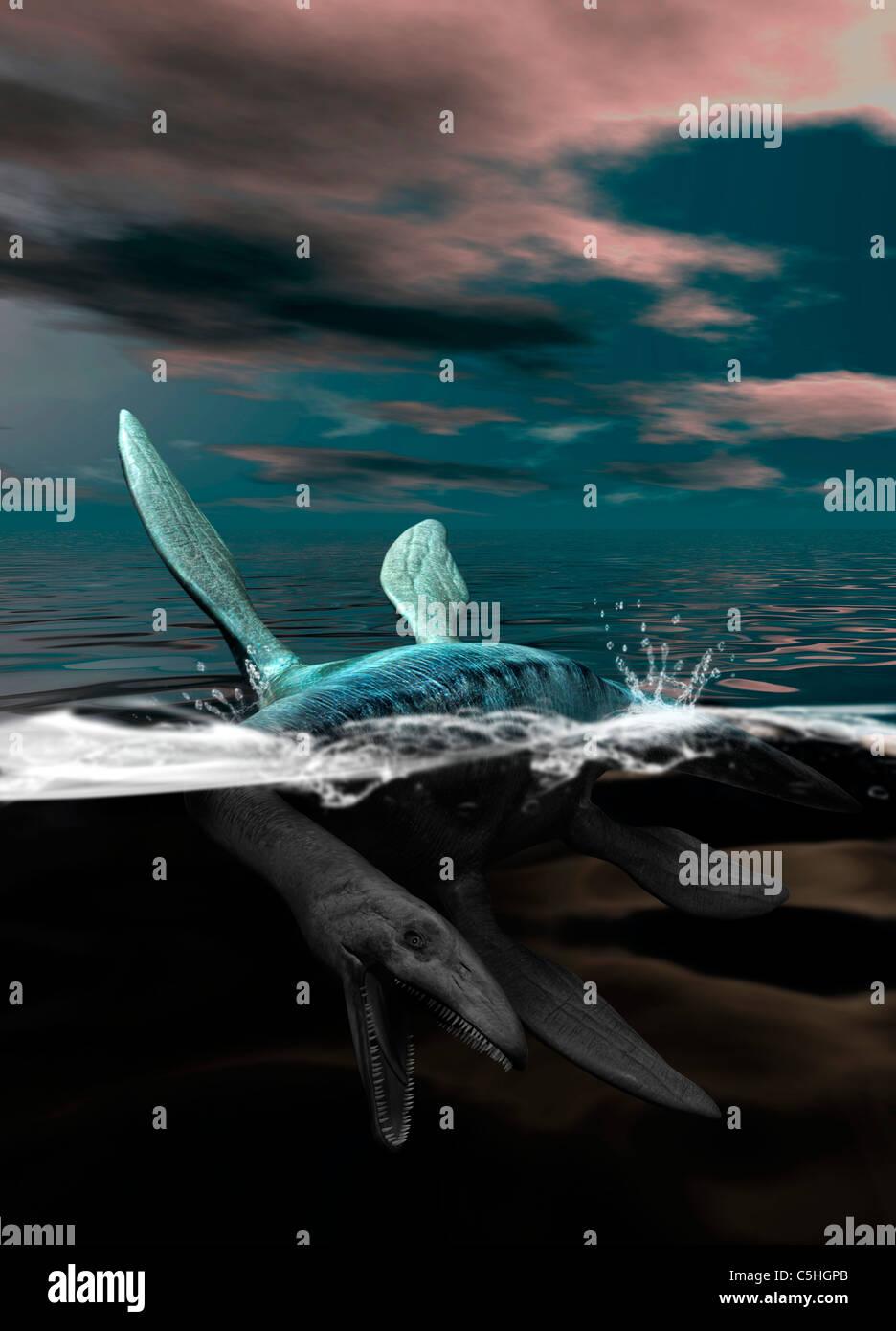 Loch Ness monster, artwork - Stock Image