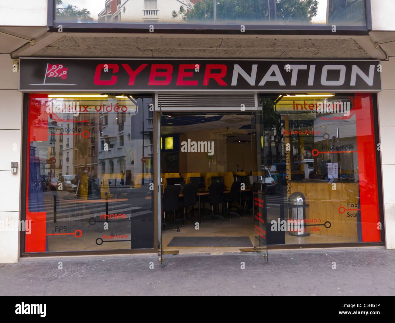 Paris, France, Internet Café, French Businesses, Storefronts 'Cyber Nation' (Now CLo-sed) - Stock Image
