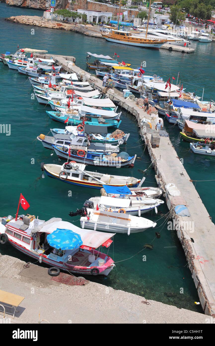 Turkey, Antalya, Kaleici, harbor, harbour, marina, Fishing, fish, ships, ship, vessel, local - Stock Image