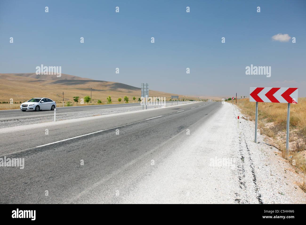 Turkey, Central Anatolia, Konya, driving on road D300 - Stock Image