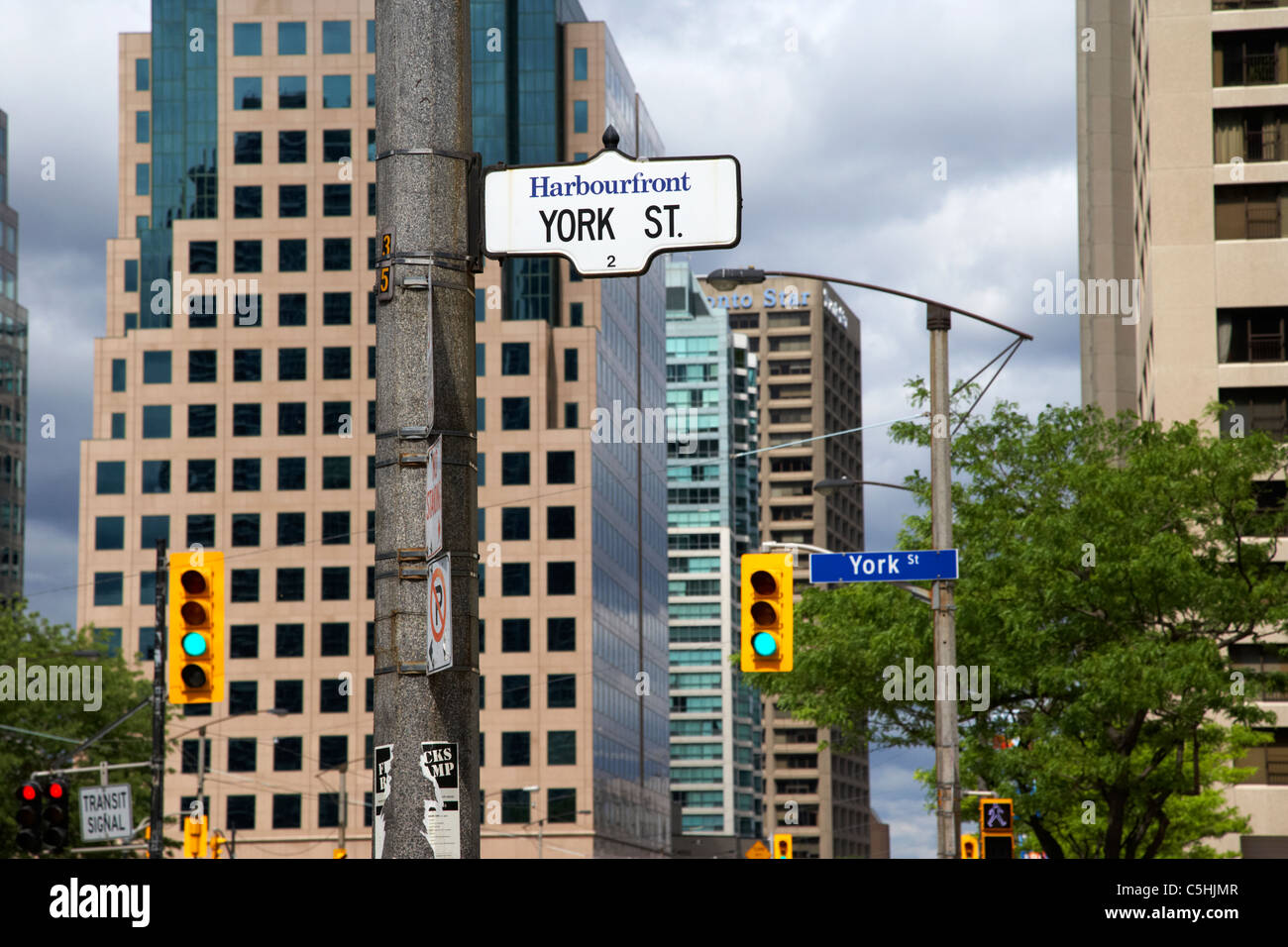 york street and queens quay west harbourfront toronto ontario canada - Stock Image