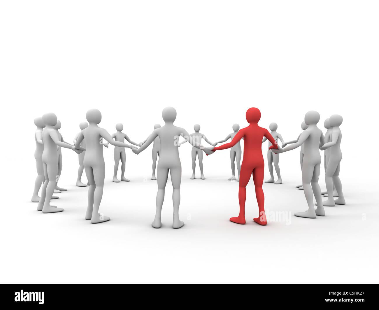 Human chain, artwork - Stock Image
