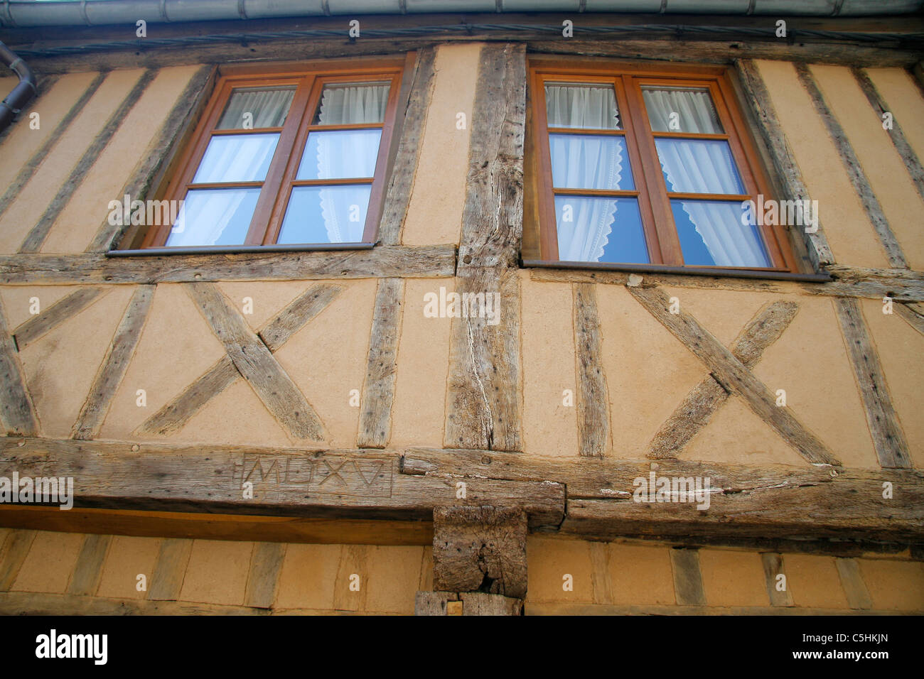 Wood-framed house that has been a restoration (Normandy, France). - Stock Image