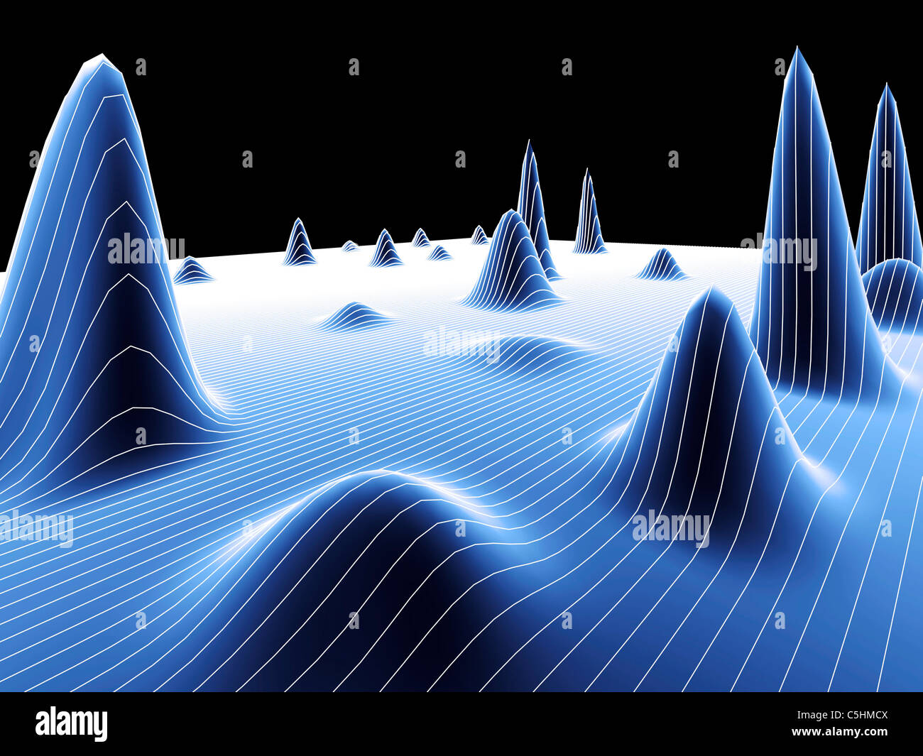 3D surface graph - Stock Image