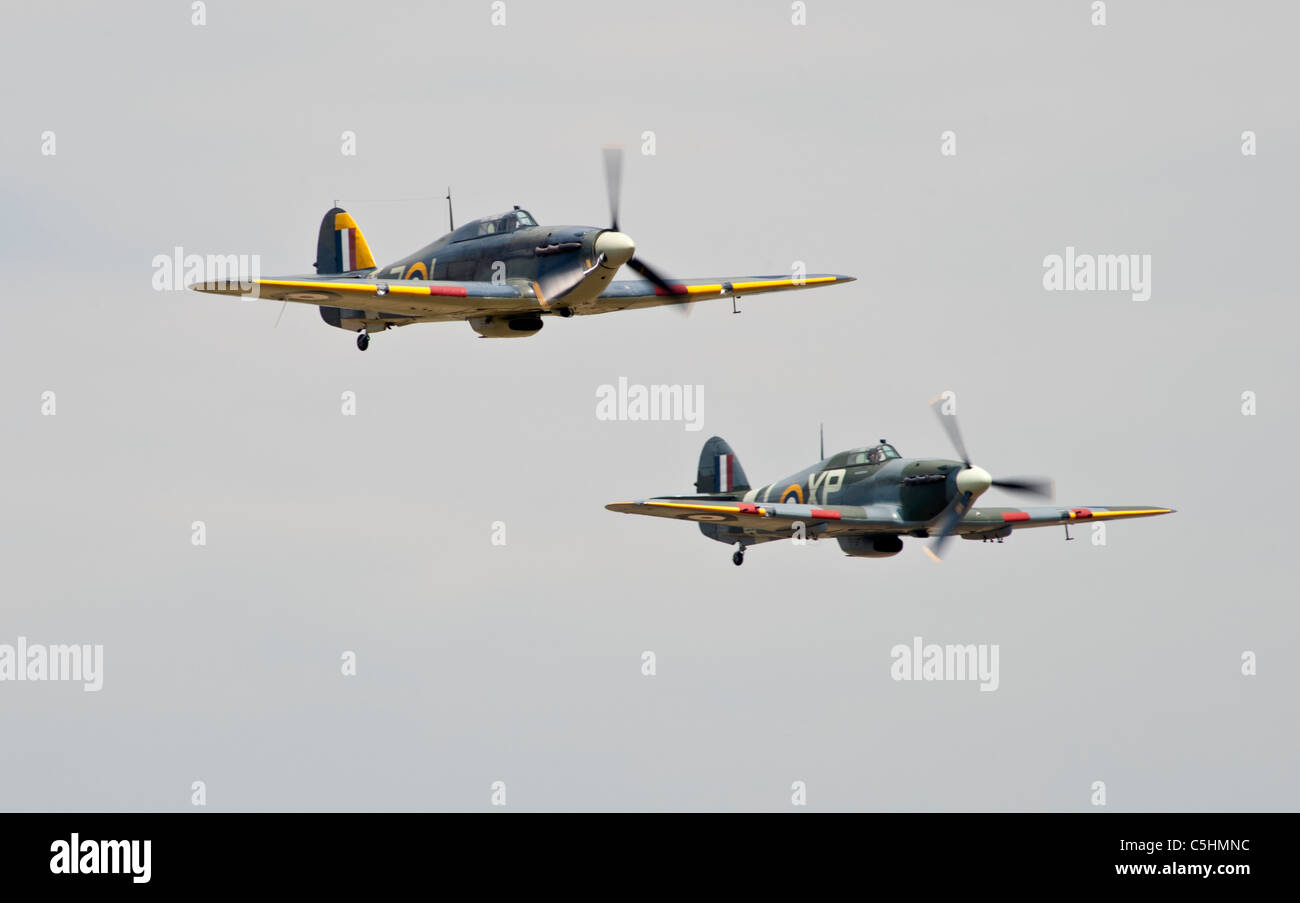 Two Hurricanes in air display over Bedfordshire, a Sea Hurricane and a Hurricane fighter bomber - Stock Image