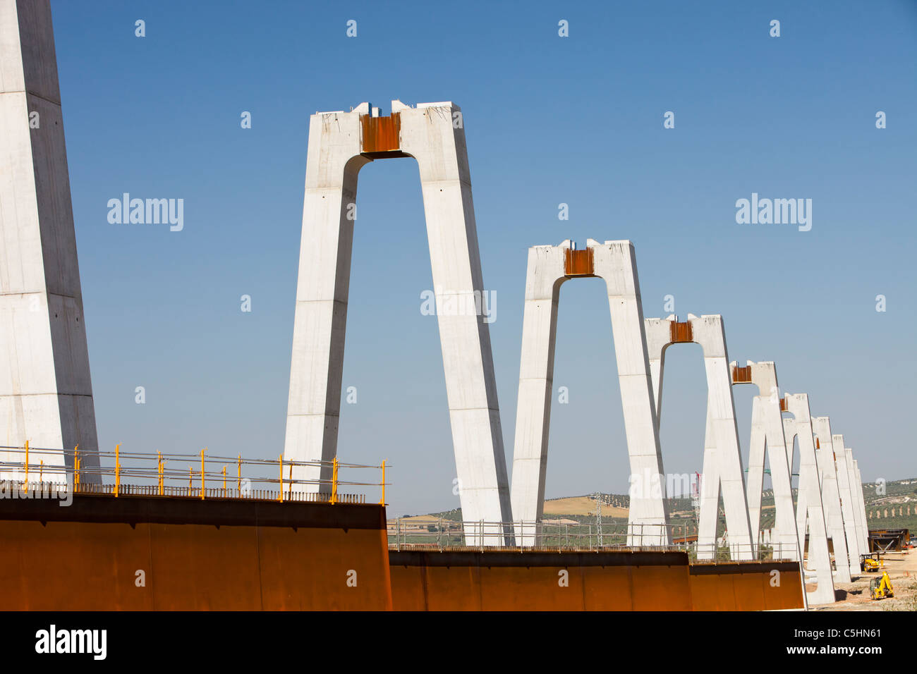 A High Speed rail link being constructed between Antequera and Granada in Andalucia, Spain. - Stock Image