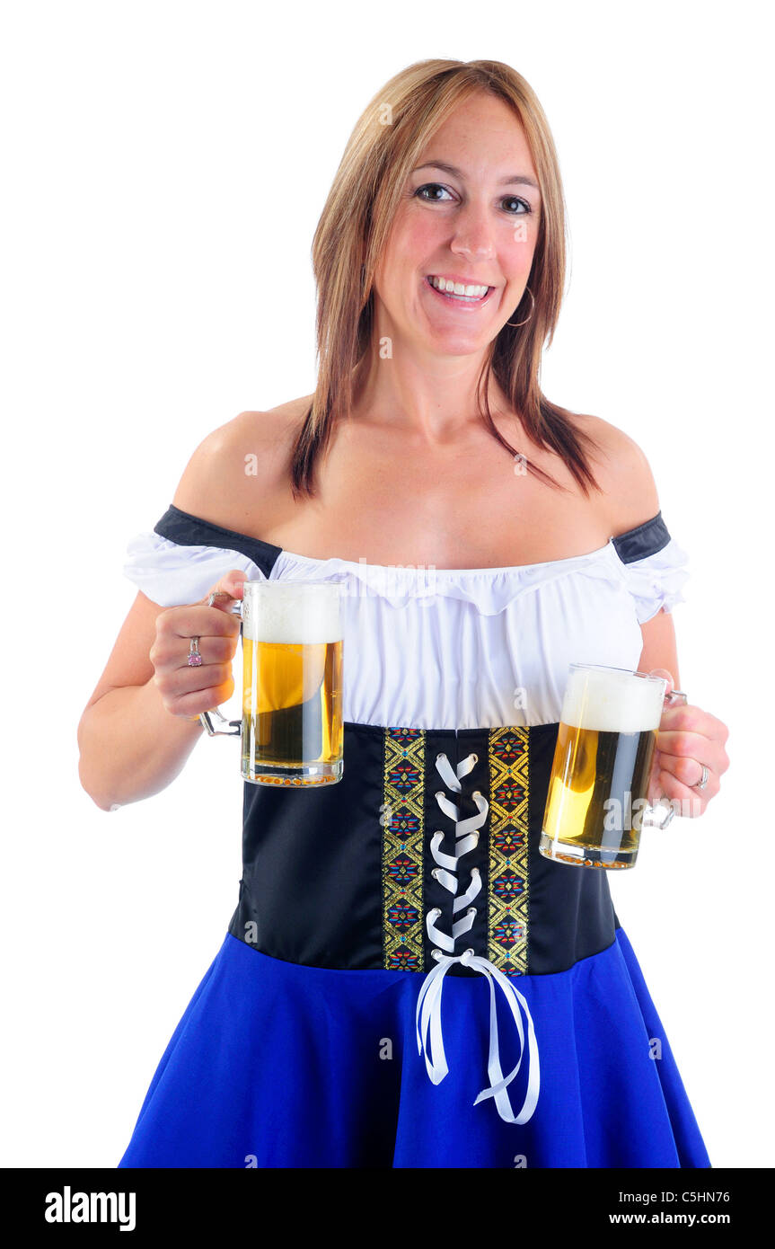dfb928303fae Beautiful Woman Wearing A Traditional Blue Dirndl Costume For Oktoberfest  Celebrations Holding Two Beer Steins