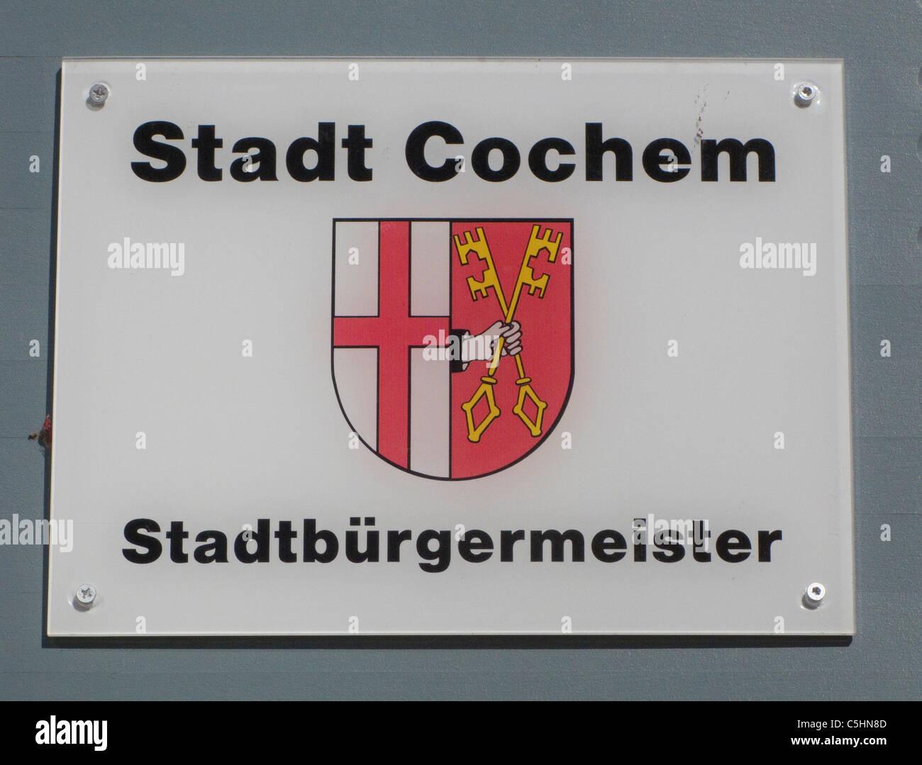 Eingangsschild, Hausschild, Stadtbuergermeister, Rathaus am Marktplatz, Board, sign of the town hall, market place, - Stock Image
