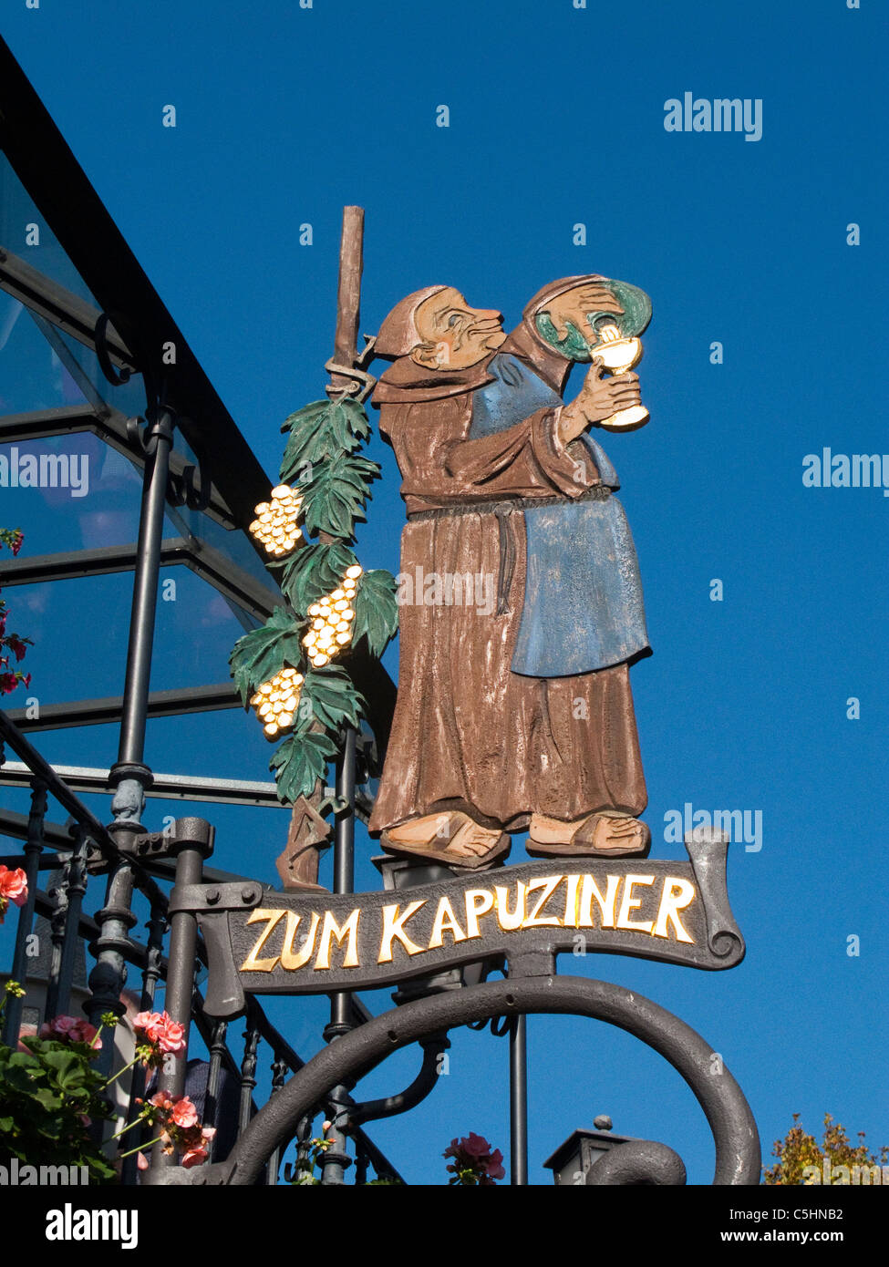 Wirtshausschild, Gaststaette an der Moselpromenade, Cochem, Mosel, Tavern sign, Kapuziner, old town, Moselle - Stock Image