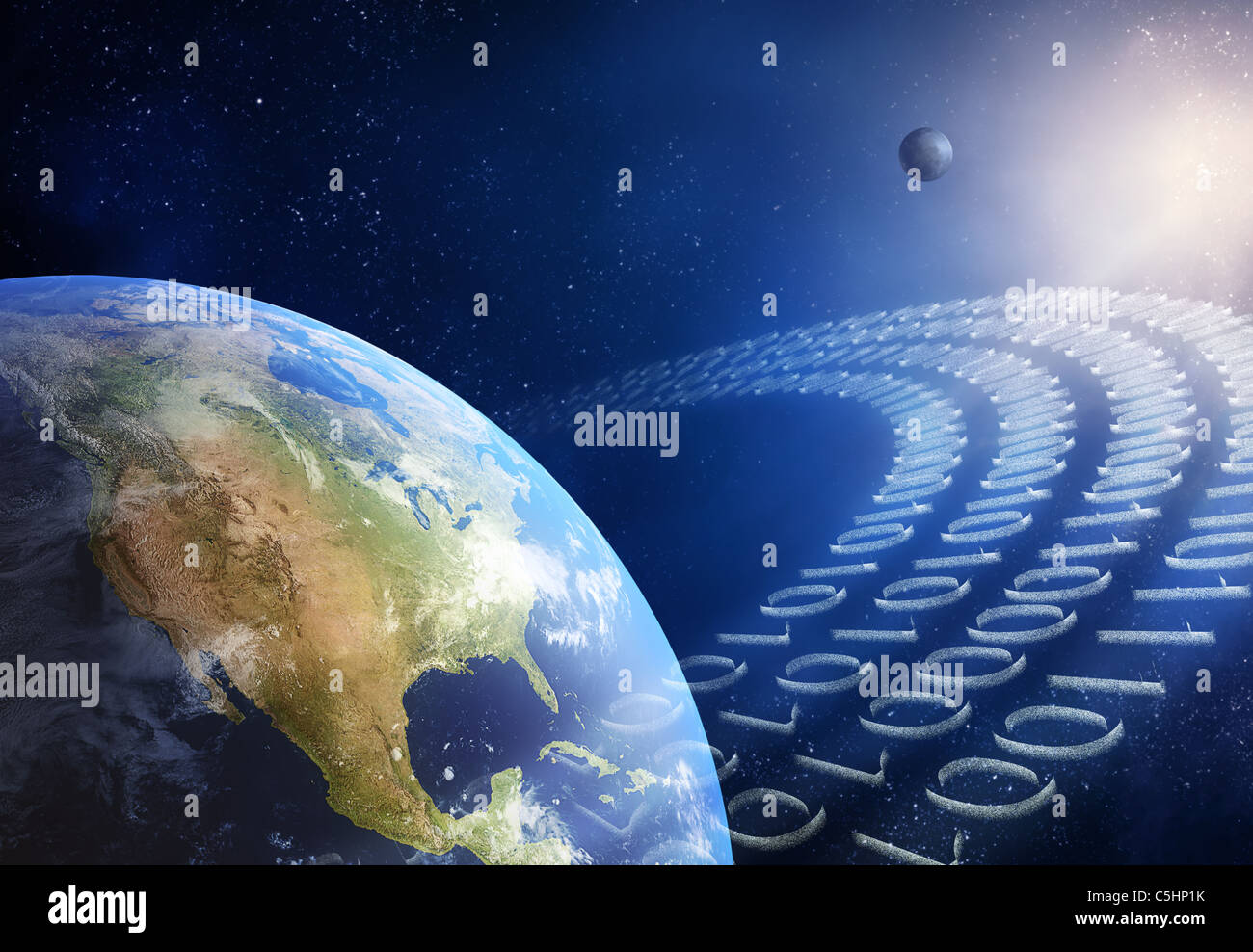 Global communication / data transmission - binary code made from tiny particles ( 3D uv maps from http://visibleearth.nasa.gov - Stock Image