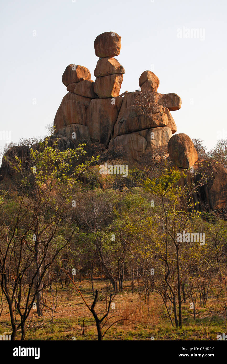 The Mother and Child Kopje in the Rhodes-Matopos National Park, close to Bulawayo, Zimbabwe. - Stock Image