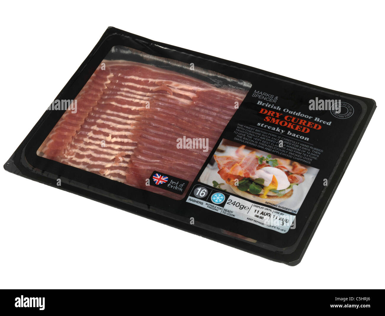Packet of Dry Cured Streaky Bacon - Stock Image